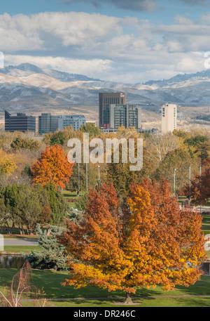 Boise, Idaho skyline overlooking Ann Morrison Park-Autumn - Stock Photo