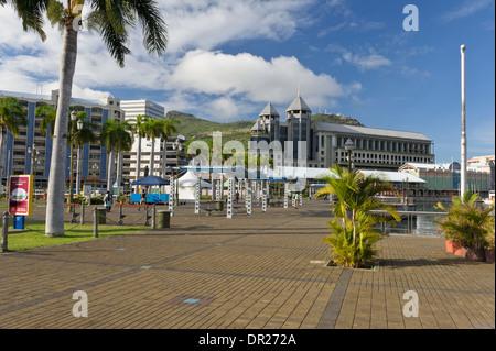 The Promenade at Caudan Waterfront, Port Louis, Mauritius. - Stock Photo