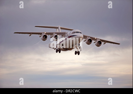 BAe 146-100 four engined jet approaching RAF Lossiemouth.  SCO 9240 - Stock Photo