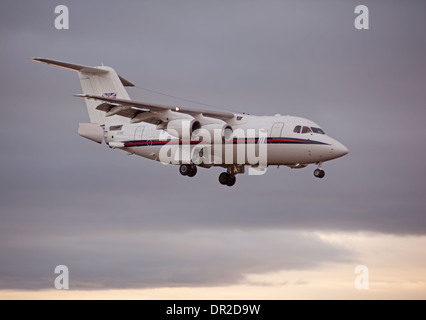 BAe 146-100 four engined jet approaching RAF Lossiemouth.  SCO 9241. - Stock Photo
