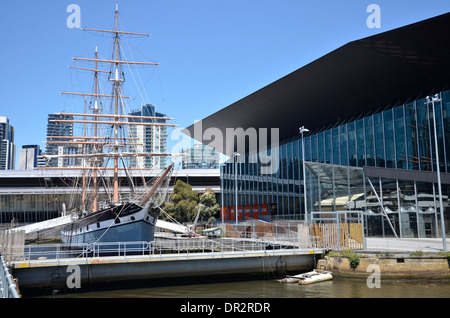 Polly Woodside, an iron hulled barque at the Melbourne Maritime Museum on South Wharf - Stock Photo