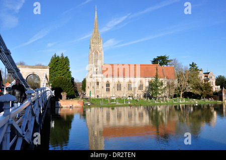 Bucks - Marlow on Thames - over the river - imposing All Saints church - tall steeple- red tiles - buff stonework - Stock Photo