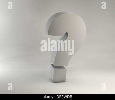 Picture of giant chrome question mark - Stock Photo