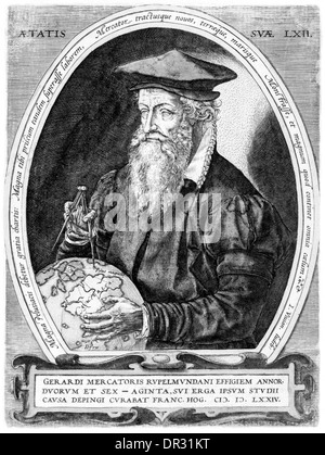 Gerardus Mercator (1512-1594) German cartographer, philosopher and mathematician, his world map 1569 showed a new - Stock Photo