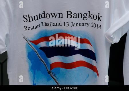 Bangkok, Thailand. Jan. 18th, 2014. T-shirt design for 'Shutdown Bangkok'. After a deadly bomb attack on Friday - Stock Photo