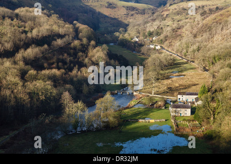 View to Upperdale and Cressbrook from Monsal Head, Monsal Dale, Peak District National Park, Derbyshire, England - Stock Photo