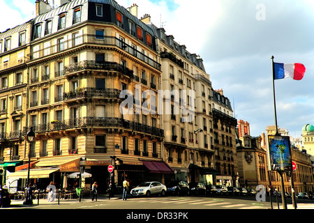 Paris, France. August 9, 2010: A French flag flies at the intersections of Rue Soufflot and Rue Saint-Jacques in - Stock Photo