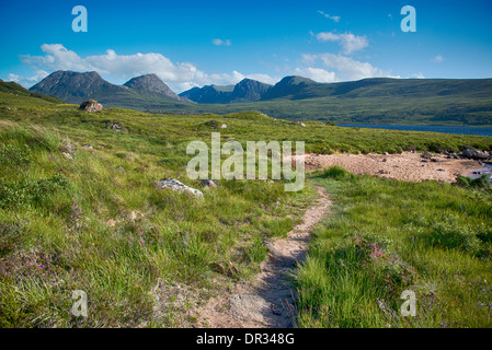 The view of Ben More Coigach, from the side of Loch Lugainn, Ross-shire, Scotland. - Stock Photo