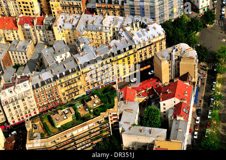An ariel view of apartment building in Paris as seen from Montparnasse Tower. - Stock Photo