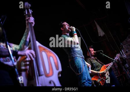 Memphis, Tenn, USA. 10th Jan, 2014. January 10 2014 - Hillbilly Casino's bass player Geoff Firebaugh, from left, - Stock Photo