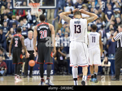 Storrs, CT, USA. 18th Jan, 2014. Saturday January 18, 2014: Connecticut Huskies guard Shabazz Napier (13) shows - Stock Photo