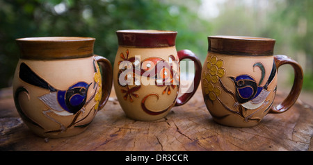 Colourful Hand Made Mugs Cups In Display Cabinet Shelf Stock Photo Alamy