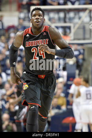 Storrs, CT, USA. 18th Jan, 2014. Saturday January 18, 2014: Louisville Cardinals forward Montrezl Harrell (24) in - Stock Photo