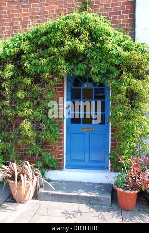 front door of terraced house Glastonbury UK - Stock Photo
