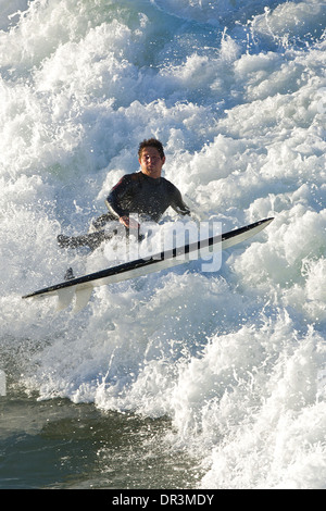 Weekend Surfing at Hermosa Beach, Los Angeles, California.. - Stock Photo