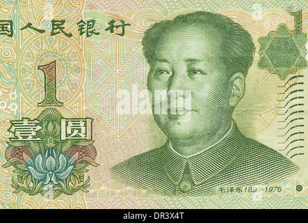 Fragment of the chinese yuan note - Stock Photo