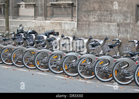 Bicycle parking on a street in the city of Paris. - Stock Photo