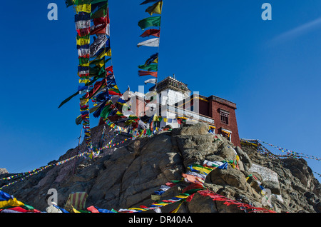 Namgyal Tsemo Gompa monastery and Tibetan prayer flags, Leh, India