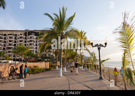 El Malecon boardwalk promenade - Puerto Vallarta, Jalisco, Mexico - Stock Photo