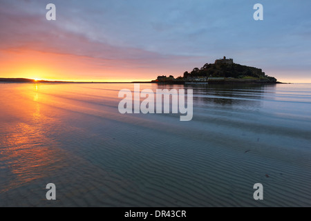 Sunrise over Mounts Bay and St Michael's Mount - Stock Photo