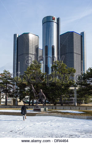 The GM Renaissance Centre in downtown Detroit, USA, Headquarters of General Motors, car manufacturers - Stock Photo