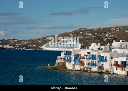 Greece, Cyclades group of islands, Mykonos, Hora. View of 'Little Venice' along the Aegean coast. Ruby Princess - Stock Photo