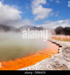 Steaming water at the Champagne Pool, Waiotapu Thermal Reserve, Rotorua, New Zealand. - Stock Photo