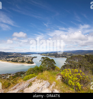 The view from Mount Paku, Tairua, looking down on Pauanui, Coromandel, New Zealand. - Stock Photo