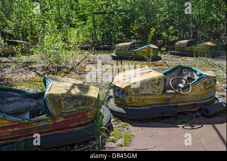 Amusement Park Ruined by Chernobyl Nuclear Accident, Ukraine - Stock Photo