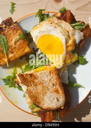 Egg breakfast sandwich - Stock Photo