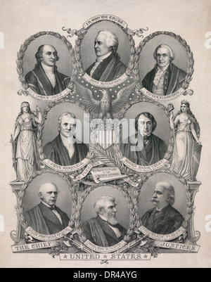 Head-and-shoulders portraits in ovals of the Chief Justices of the Supreme Court flanked by allegorical female figures - Stock Photo