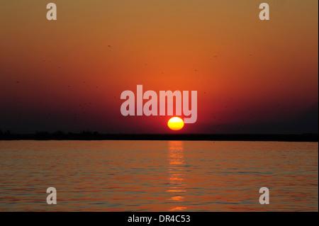 Sunset at Lake Manyara National Park - Stock Photo