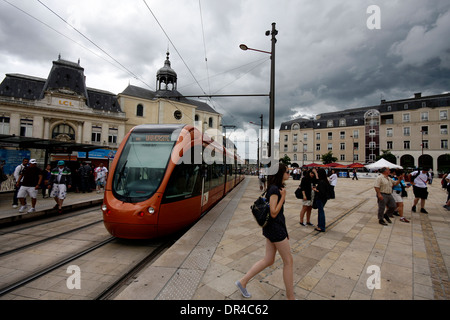 A tram at a station in Le Mans city centre - Stock Photo