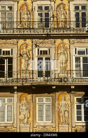 Old apartment and iron balcony architecture in Lisbon's old Arabic Alfama district. - Stock Photo