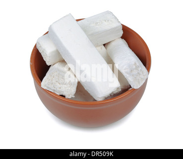 Marshmallows in bowl on a white background - Stock Photo