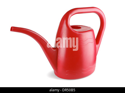 Red watering can on a white background - Stock Photo