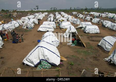 Tents in a refugee amp of Lira, Uganda, Africa during the civil war. The fighting in Uganda between the rebel force - Stock Photo