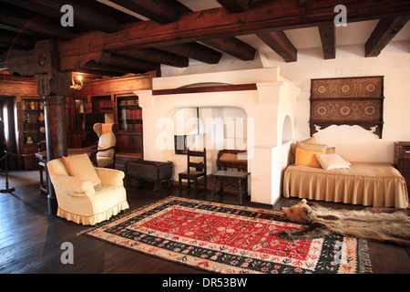 Music Room, Bran Castle, Bran, near Brasov, Transylvania, Romania, Europe - Stock Photo