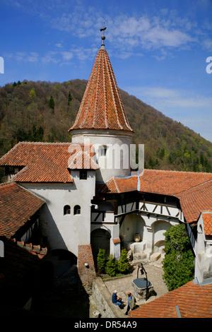 Courtyard of Bran castle (Dracula's castle) near Brasov, Transylvania, Romania, Europe - Stock Photo