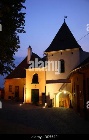 Houses at  Huetplatz, Sibiu (Hermannstadt),  Transylvania, Romania, Europe - Stock Photo