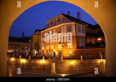 Luxembourg House at night, Piata Mica, Sibiu (Hermannstadt), Transylvania, Romania, Europe - Stock Photo