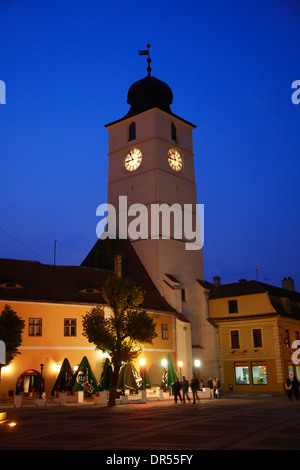 The Council Tower from Piata Mare, Sibiu, Transylvania, Romania, Europe - Stock Photo
