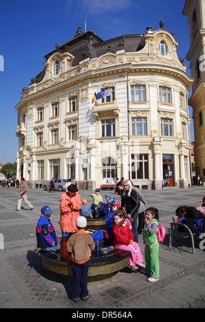 Piata Mare, Big Market Square, town hall, Sibiu (Hermannstadt), Transylvania, Romania, Europe - Stock Photo