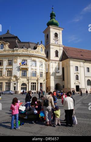 Piata Mare, Big Market Square, Sibiu (Hermannstadt), Transylvania, Romania, Europe - Stock Photo