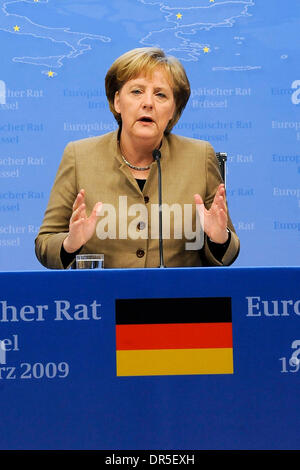 Mar 20, 2009 - Brussels, Belgium - German Chancellor ANGELA MERKEL gives a news conference at the end of the European Heads of State Summit, at the European Union headquarters. (Credit Image: © Wiktor Dabkowski/ZUMA Press)