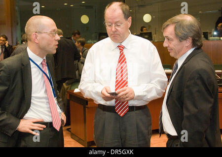 Dec 02, 2008 - Brussels, Belgium - German Finance Minister PEER STEINBRUECK (C)  and Luxembourg's Economy and Foreign - Stock Photo