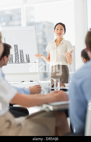 Happy asian businesswoman presenting bar chart to co workers - Stock Photo