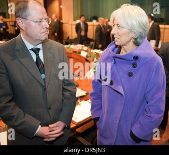 Jan 19, 2009 - Brussels, Belgium - German Finance Minister PEER STEINBRUECK (L) and French Minister for Economy - Stock Photo