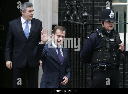 Apr 01, 2009 - London, England, United Kingdom - British Prime Minister GORDON BROWN greets Russian President DMITRY - Stock Photo
