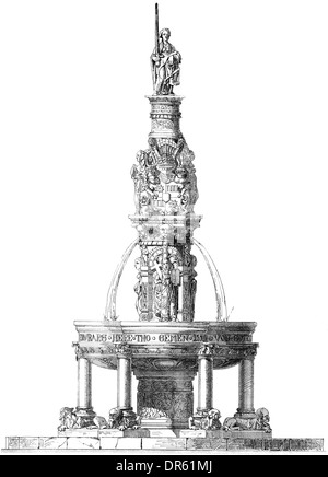 German Renaissance style, 16th century, Fountain in the courtyard, Stadthagen, Lower Saxony, Germany, - Stock Photo